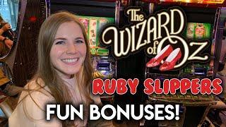 Nice Random Feature! BONUSES! Wizard of Oz Ruby Slippers Slot Machine!