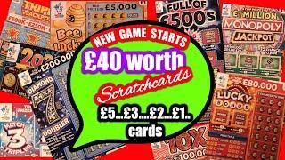NEW Scratchcard Game starts £40,00 worth.Diamond 7s..2020..Lucky Bonus.Full £500s.Monopoly.B-Lucky