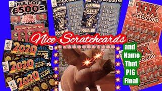 """Scratchcards..DIAMOND 7s DOUBLER..2020..Full £500s..10X..& NAME that PIG """"FINAL"""""""