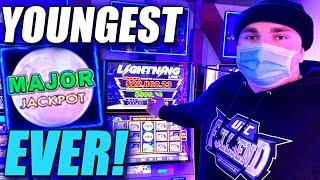 YOUNGEST PLAYER TO HIT A MAJOR JACKPOT ON YOUTUBE ! LEFT FOR MY LEFTY!