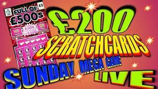 "£200 SCRATCHCARD SUNDAY""NEW FULL£500s""CASH 7s""CASH VAULT"""