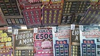 FANTASTIC  SCRATCHCARD GAME. FULL £500..MONOPOLY.GOLD 7s..TAKE OR LEAVE IT...MONOPOLY..CASH VAULT..