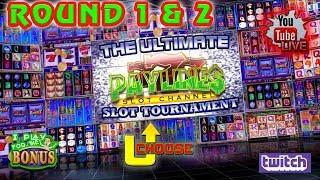 LIVE:  ULTIMATE PAYLINES SLOT TOURNAMENT  ROUNDS 1 & 2  THE SLOT MUSEUM
