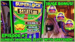 SUPERLOCK Lock It Link FLOWER FORTUNE Slot Machine SUNDAY MORNING SLOTS WITH GRETCHEN EPISODE #7