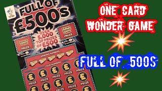Full £500s..... One Card Wonder Game..mmmmmmMMM