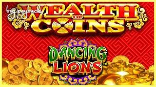 MAX BET BONUS! Wealth of Coins Dancing Lion Slot - FUN SESSION, ALL FEATURES!