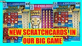 """NEW SCRATCHCARDS """"OUR BIG GAME""""BURIED TREASURE""""LION DOUBLER"""