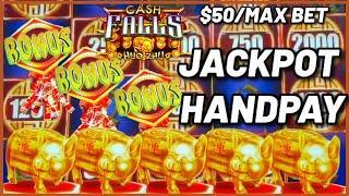 High Limit Cash Falls Huo Zhu HANDPAY JACKPOT $50 MAX BET Bonus Round Slot Machine Casino