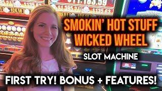 NEW! Smokin Hot Stuff Wicked Wheel! Slot Machine! Max Bet BONUS and Features!