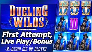 Dueling Wilds Slot- First Attempt, Live Play and Free Spins Bonus with Re-Triggers