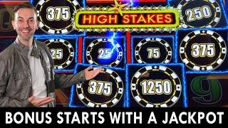 Bonus STARTS with a JACKPOT  High Stakes LIGHTNING LINK