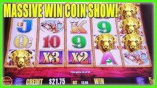 OMG WE GOT A MASSIVE WIN ON BUFFALO GOLD SLOT MACHINE! COIN SHOW