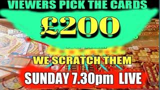 VIEWERS  PICK the SCRATCHCARDS..& SUNDAY WE SCRATCH THEM..at 7.30pm LIVE on YouTube..see you There