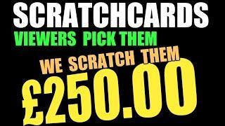 """£250 MEGA SCRATCHCARD GAMEC""""50X""""MONOPOLY""""SUPER 7s""""& RAFFLE"""