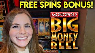 Monopoly Big Money Reel Slot Machine! Free Spins! BONUS! Spinning The Big Money Wheel!