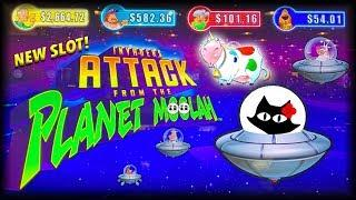 NEW SLOT • UNICOW CAUGHT •• 249 SPINS • Invaders Attack from the Planet Moolah •