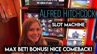 New! Alfred Hitchcock Slot Machine! BONUSES! Great Comeback!!