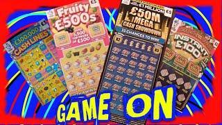 Game on...Scratchcard..£50M Mega Showdown..Fast £500..Cashlines..Instant £100