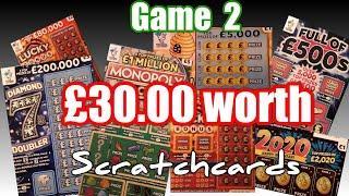 Game 2..Scratchcards..Full £500s..Diamond 7..Bee Lucky..2020.Lucky Bonus.Monopoly