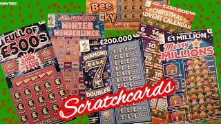 Scratchcards.Full £500.Merry Millions.Diamond 7s.W/Wonderlines..Bee Lucky.and WINNERS in Our Draw