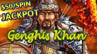 Dragon Link Genghis Khan HANDPAY JACKPOT ~ HIGH LIMIT $50 MAX BET Bonus Round Slot Machine Casino