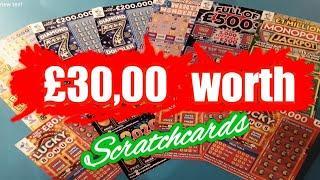 £30.00 worth Scratchcards..Diamond 7s..Full £500..Lucky Bonus..B-Lucky.etc