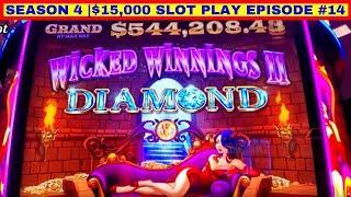 NEW ! WICKED WINNINGS II DIAMOND Slot Machine Max Bet Bonuses | Season 4 | Episode #14