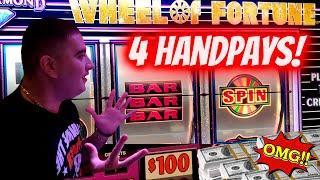 4 HANDPAY JACKPOTS! $100 Wheel Of Fortune HANDPAY JACKPOT  High Limit Slots JACKPOTS In Las Vegas
