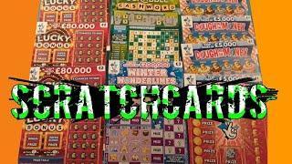 Scratchcards..LUCKY BONUS..Scrabble Cashword.WONDERLINES..£500,000 Red..Dough me Money.. mmmmmmMMM