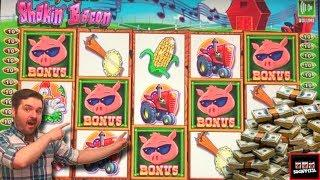 HOEDOWN! (Brent hits the floor) LIVE PLAY and BONUSES on Filthy Rich 2 Shakin' Bacon Slot Machine
