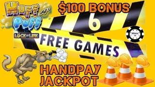 $100 SPIN BONUS GETS US A JACKPOT HANDPAY on Huff N' Puff HIGH LIMIT Slot Play on Lock It Link