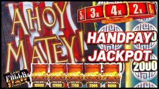 High Limit Cash Falls Pirate's Trove HANDPAY JACKPOT $50 MAX BET Session & Bonus Round Slot Machine