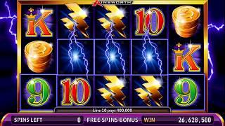 THUNDER CASH Video Slot Casino Game with a RETRIGGERED THUNDER CASH FREE SPIN BONUS