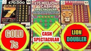"""CASH SPECTACULAR """"BURIED TREASURE""""LION SHARE DOUBLER""""GOLD 7s SCRATCHCARDS"""