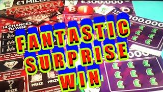 Wow!...SURPRISE WINNER ...(WE ONLY  SPENT £10 on Scratchcard)...MILLIONAIRE MONOPOLY..BINGO classic