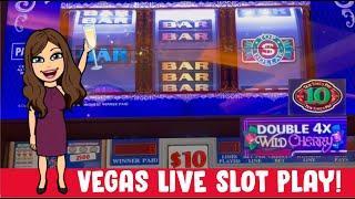 High Limit Slot Machines - Live Play - Top Dollar, Double 4x Cherry & 2x5x10x Bonus Times - Vegas