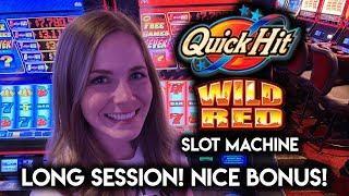 Quick Hit Wild Red Slot Machine! Locking Wilds BONUS!!