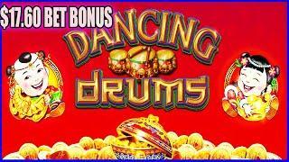 $1000 vs DANCING DRUMS HIGH LIMIT SLOT MACHINE $17 60 BETS BONUS