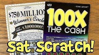 SAT SCRATCH! 100X The Cash + $750 Million Winner's Circle  TEXAS LOTTERY Scratch Offs