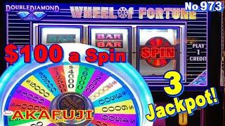 Double Top Dollar Double Diamond$100 Slot Machine Wheel of Fortune Red White Blue Jackpot 赤富士スロット