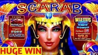 SCARAB Slot Machine HUGE WIN - Max Bet Bonuses | Wild Lepre'Coins Slot Machine BONUS Won | Live Slot