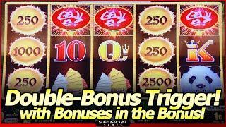 Panda Magic Slot - Rare Double Bonus Trigger and Bonus in the Bonus, Big Win in First Attempt