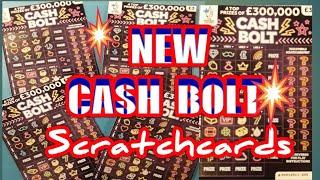 """NEW...Scratchcards..""""CASH BOLT""""..New £3 card..and Wonderlines..£300,000 ruby.Dough money"""
