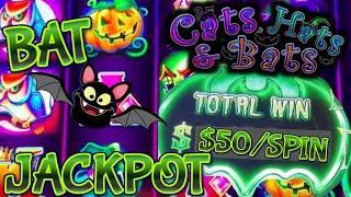 Lock It Link Cats, Hats & More Bats HANDPAY JACKPOT  HIGH LIMIT $50 BONUS ROUND Slot Machine Casino