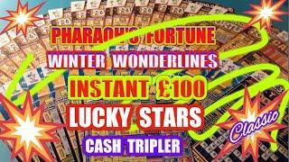 £50 Scratchcards INSTANT £100.PHARAOH'S FORTUNEWinter WonderlinesLucky StarsCash Tripler