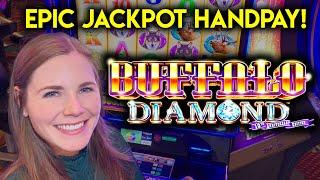 EPIC JACKPOT HANDPAY! AMAZING BONUS!! BUFFALO DIAMOND SLOT MACHINE!!