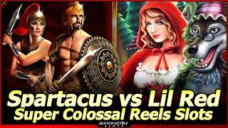 Spartacus vs Lil Red Super Colossal Reel Slot Machines - First Attempt with Live Play and Bonuses