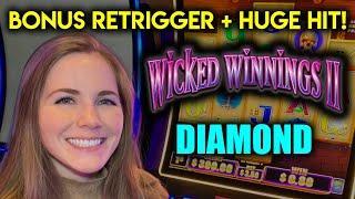 HUGE HIT! BONUS RETRIGGER! Wicked Winnings 2 Diamond Slot Machine!