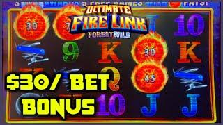HIGH LIMIT Ultimate Fire Link Forest Wild & Country Lights $30 Bonus Round Slot Machine Casino