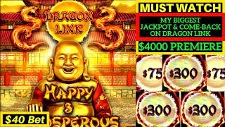MOST EXCITING Handpay Jackpot on High Limit DRAGON LINK Slot Machine  $4000 vs DRAGON LINK  MUST SEE
